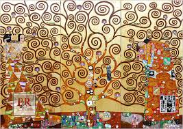 klimt tree of life hand painted reion with gold leaf