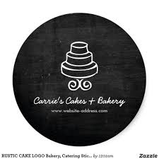 Classic Sticker Design Vintage Tiered Cake Logo On Black Wood Bakery Classic Round