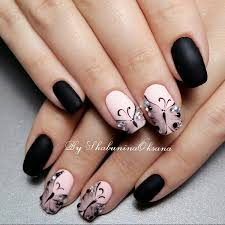 coupled matte and glossy black colors with glittery enhancement boost the look of your hands
