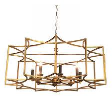 geometric gold finish chandelier
