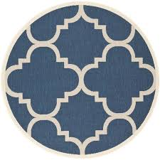 safavieh courtyard navy indoor outdoor rug round 5 3