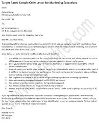 How To Write Appointment Letter Appointment Letter For Marketing Executive With Target