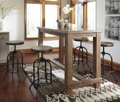 Industrial Pub Table Sets 5 Piece Bar Table Set With Industrial Style Adjustable Swivel