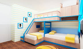 cream blue wooden loft bed having blue ladder and yellow blanket ...