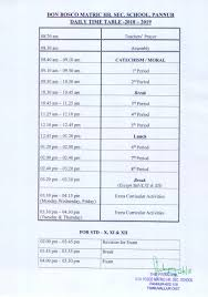 Daily Time Table Daily Time Table 2018 Don Bosco Matric Hr Sec School Pannur