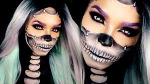 half skull makeup tutorial reattached face skull makeup you