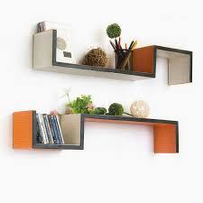 trista tangerine breeze s shaped leather wall shelf bookshelf floating shelf set of 2