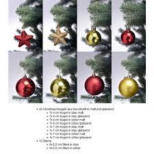 Christbaumschmuck In Rot Gold Weihnachtskugeln Glänzend Und Matt Baumschmuck Weihnachten Deko Anhänger 44 Teiliges Set
