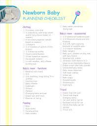 Baby Check List Newborn Baby Planning Checklist