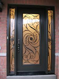single front doors. fiberglass doors front entry doors-wrought iron single exterior door milan design with 2 side lites installed by in toronto