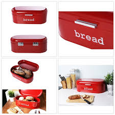juvale large bread box for kitchen counter bread bin storage container with lid metal vintage retro design for loaves sliced bread pastries red