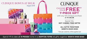 spend 29 or more on clinique at belk and receive a free 7 piece clinique gift while supplies last