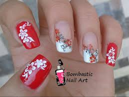 Red Flower Nail Art with Water Decal and French Manicure ...