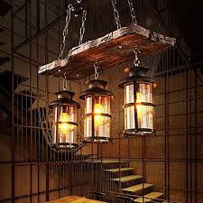 baycheer hl449356 industrial woody wrought iron 3 lights pendant light chandelier hanging lamp celling lights fixture metal cage frame with glass shade for