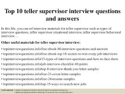 Bank Teller Job Interview Questions Top 10 Teller Supervisor Interview Questions And Answers