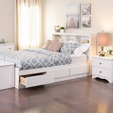 Full Size Platform Bed with Drawers White With \u2014 Beds : Totally