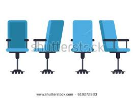 isometric office furniture vector collection. office or desk chair in various points of view armchair stool front isometric furniture vector collection