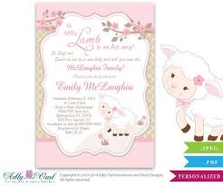 baby girl invite little lamb girl baby shower invitation for a new baby girl printable sheep lamb card for a baby shower pink brown polka