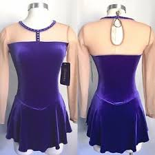 Details About Mondor Velvet Mesh Skating Dress W Rhinestones Purple Adult Size S Nwt