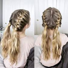 Two French Braids Into Messy Pigtails Hair In 2019 Braided