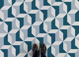 kensington retro geometric pattern blue feet vinyl flooring
