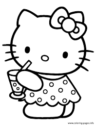 Small Picture cute hello kitty drinking water Coloring pages Printable