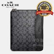 Coach F64562 Men s Signature Tech Case Bag  Charcoal Black