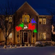 Outdoor Led Christmas Projection Lights Lightshow Projection Whirl A Motion Reindeer By Gemmy