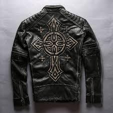 2018 new men s motorcycle leather jacket vintage black thick cowhide genuine rider jackets back 3d cross biker coats