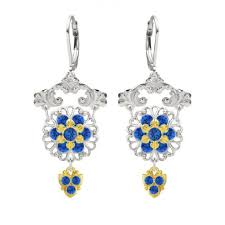 lucia costin chandelier earrings made of 925 sterling silver adorned with blue swarovski crystals