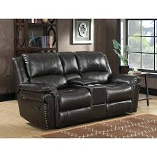 loveseats reclining loveseat with console leather brown dual lay flat memory foam bennett power sofa