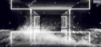 Cyber White Fog Lights Modern Alien Spaceship Neon Glowing White Cyber Sci Fi