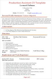 Production Resume Template Custom Production Assistant CV Template Tips And Download CV Plaza