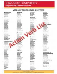 What Are Action Verbs List Keywords And Action Verbs Engineering Career Services Iowa State