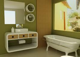 bathroom green painted bathroom wall modern rack and drawers white towels big square mirror square