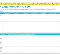 Printable Food And Exercise Diary Template