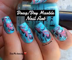 Drag/Dry Marble Nail Art (part 2 ) : ZeeMe beauty ❤ - YouTube