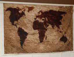 world map tapestry rustic fabric art print wall hanging for