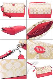 Coach COACH ☆ bag (pouch) F48442 48442 light khaki x bright coral legacy  signature large wristlet outlet products