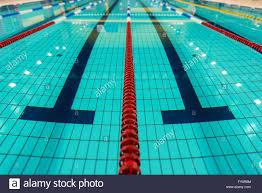 swimming lanes large empty swimming pool lanes closeup stock image