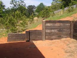 Creative Wood Retaining Wall From Old Railroad Wood Retaining Wall