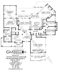 Big Mountain Lodge A House Plan   House Plans by Garrell    big mountain lodge house plan   st floor plan