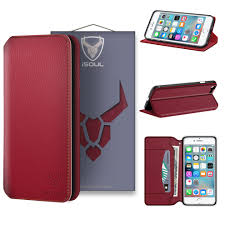 isoul premium leather wallet case for apple iphone 8 iphone 7 genuine slimline card slots flip cover red on on