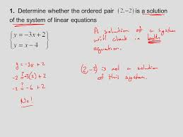 determine whether the ordered pair is a solution of the system of linear equations