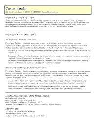 Sample Resume For Preschool Teacher Pictx Host