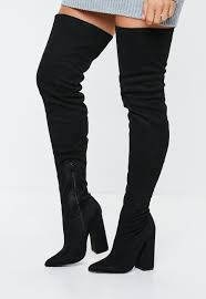 Asos Design Kassidy Heeled Thigh High Boots Missguided Black Over The Knee Flared Heel Boots Boots