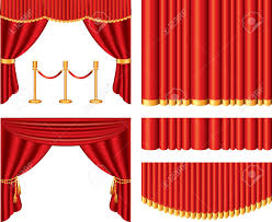classic movies red theater curtains photo realistic vector set