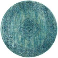 vintage turquoise multi 6 ft x 6 ft round area rug