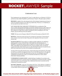 Lease Contract Sample Condo Lease Agreement Condominium Lease With Sample