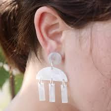 statement geometric silver acrylic chandelier earrings